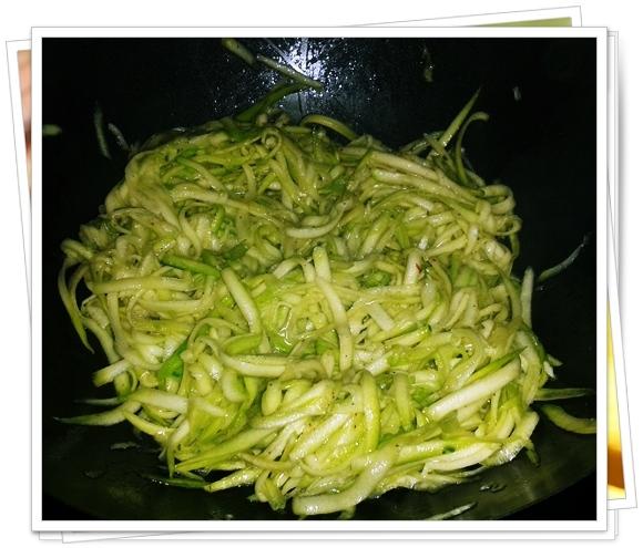 Espaguetis de Calabacín cocinados