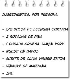Ingredientes Ensalada con Piña
