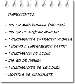 Ingredientes Galletas con Pepitas de Chocolate